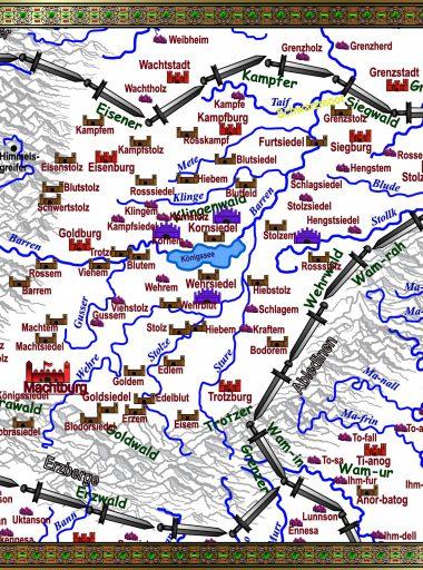 Karte Gotonien - weiß mit Details