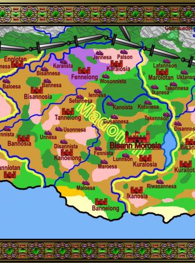 Karte Motavien - Stämme bunt mit Details